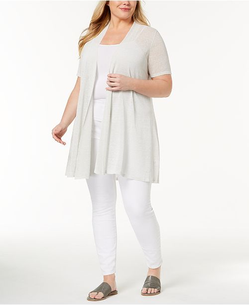 db1949403dc Eileen Fisher. Organic Linen Plus Size Open-Front Cardigan. 1 reviews. main  image  main image ...