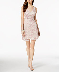 Adrianna Papell Sequined Lace Tulle Dress