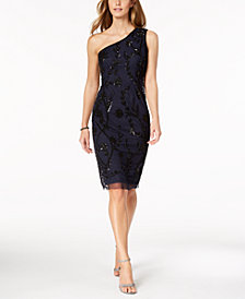 Adrianna Papell Sequined One-Shoulder Dress