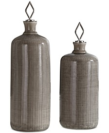 Dhara 2-Pc. Taupe Glazed Bottle Set