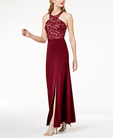 Morgan & Company Juniors' Strappy Sequined Lace Gown