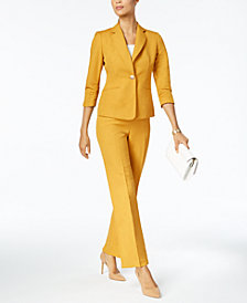 Kasper Ruched Blazer & Straight-Leg Pants