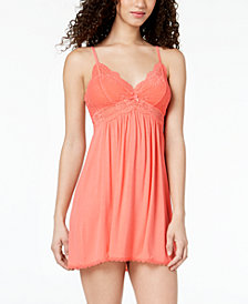 Thalia Sodi Knit Lace-Trim Chemise, Created for Macy's