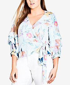 City Chic Trendy Plus Size Printed Wrap Top