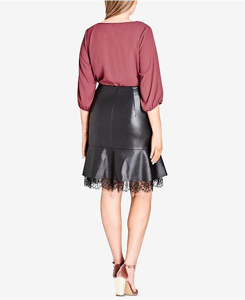 City Chic Trendy Plus Size Faux Leather Peplum Skirt Skirts Plus