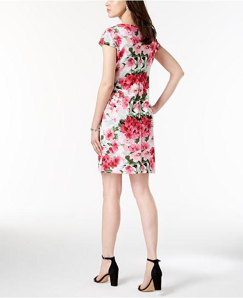 Neck Dress Floral Split Print Connected Fuschia Petite SHPqwF