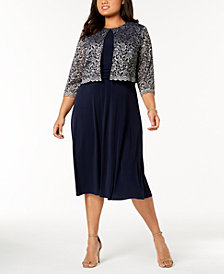 Jessica Howard Plus Size Midi Dress & Metallic Lace Jacket