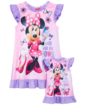 Minnie Mouse GraphicPrint Nightgown  Doll Nightgown Toddler Girls