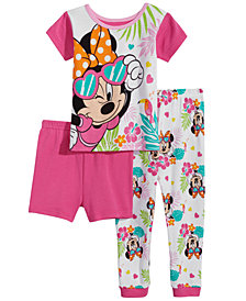 Minnie Mouse 3-Pc. Graphic-Print Cotton Pajama Set, Toddler Girls