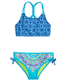 Breaking Waves 2-Pc. Mixed-Print Bikini, Little & Big Girls