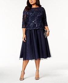 Alex Evenings Plus Size Sequined Midi Dress