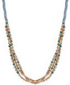 "lonna & lilly Gold-Tone & Colored Bead Triple-Row 24"" Slider Necklace"