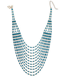 "Thalia Sodi Gold-Tone Beaded Multi-Row Statement Necklace, 16"" + 3"" extender, Created for Macy's"