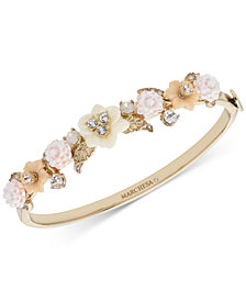 Marchesa Gold-Tone Crystal Flower Bangle Bracelet