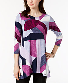 Alfani Petite Printed Handkerchief-Hem Swing Top, Created for Macy's
