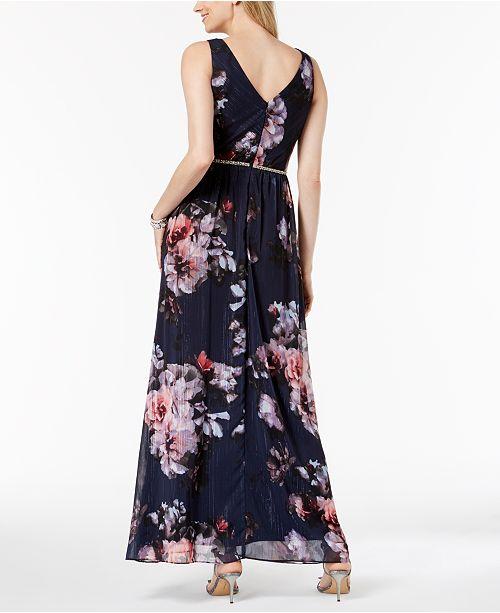 Navy Metallic Surplice Print Gown SL Fashions Floral xp8YnqCxvw