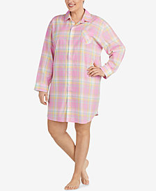 Lauren Ralph Lauren Plus Size Cotton Plaid Sleepshirt