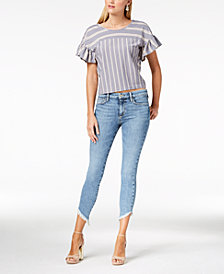 Joe's Marcella Icon Diagonal-Frayed Skinny Ankle Jeans