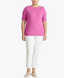 Lauren Ralph Lauren Plus Size Slim-Fit Boat-Neck T-Shirt