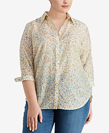 Lauren Ralph Lauren Plus Size Floral Voile Shirt, Created for Macy's