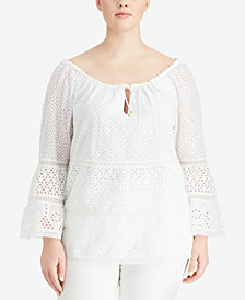 Lauren Ralph Lauren Plus Size Eyelet Lace Cotton Top