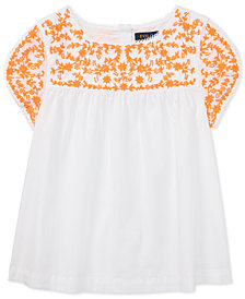Polo Ralph Lauren Embroidered Cotton Top, Big Girls
