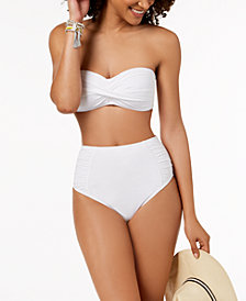 Bar III Twist Bandeau Bikini Top & High-Waist Bikini Bottoms, Created for Macy's