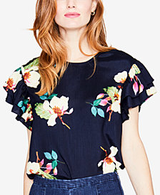 RACHEL Rachel Roy Floral-Print Flutter-Sleeve Top, Created for Macy's