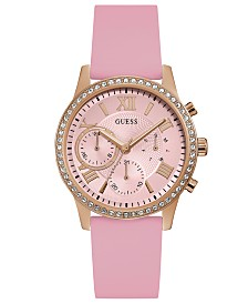 GUESS Women's Pink Silicone Strap Watch 40mm