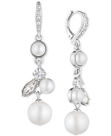 Givenchy Silver-Tone Pearl and Crystal Drop Earrings