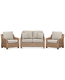 Willough Wicker Outdoor 3-Pc. Set (1 Loveseat & 2 Club Chairs) with Custom Sunbrella® Colors, Created For Macy's