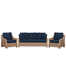 Willough Wicker Outdoor 3-Pc. Set (1 Sofa & 2 Club Chairs) with Custom Sunbrella® Colors, Created For Macy's