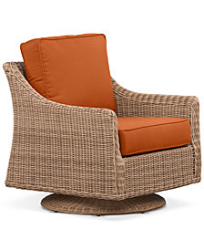 Willough Wicker Swivel Glider:with Custom Sunbrella® Colors, Created For Macy's