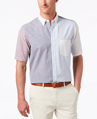 Men's Patchwork Colorblocked Stripe Seersucker Pocket Shirt, Created For Macy's by Club Room