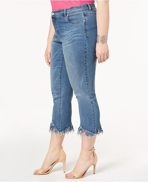 N I Cropped Macy's for INC Plus Size Hem C Jeans Willow Wash Created Fringe Concepts International tREwxwSf
