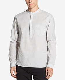 DKNY Men's Banded-Collar Grid-Print Shirt