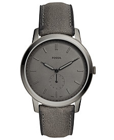Fossil Men's Minimalist Gray Leather Strap Watch 44mm