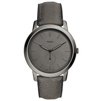 Fossil Men's 44mm Minimalist Gray Leather Strap Watch