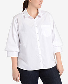 NY Collection Plus Size Blouson-Sleeve High-Low Hem Blouse