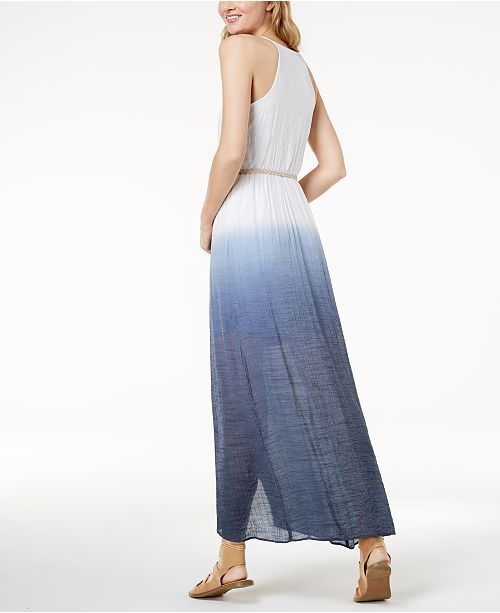 White Juniors' with BCX Dress Navy Dip Dyed Wrap Belt Maxi FqUTxq