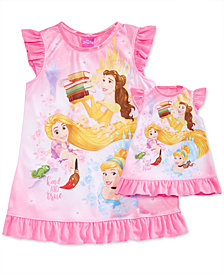 Disney's® Princesses Belle, Rapunzel & Cinderella Nightgown with Doll Nightgown, Toddler Girls