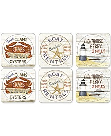 Pimpernel Coastal Signs Set of 6 Coasters
