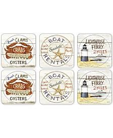 Pimpernel Coastal Signs Set of 6 Coasters