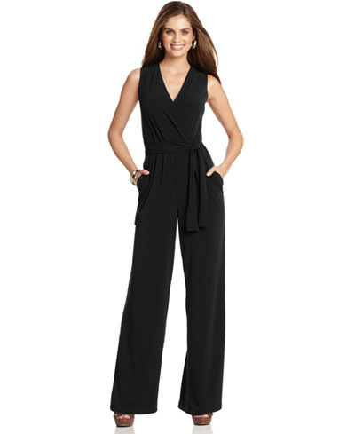 NY Collection Petite Surplice Belted Wide-Leg Jumpsuit - Pants ...