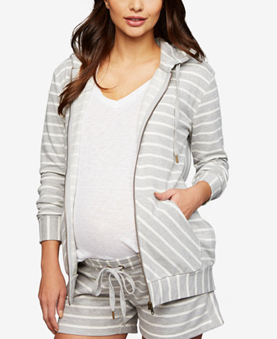 A Pea In The Pod Maternity Striped Zip-Front Hoodie