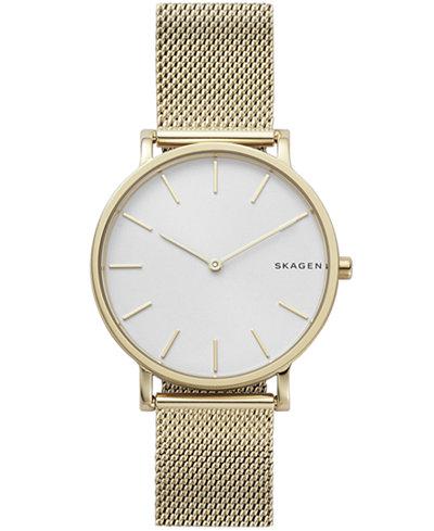Skagen Men's Hagen Gold-Tone Stainless Steel Mesh Bracelet Watch 38mm
