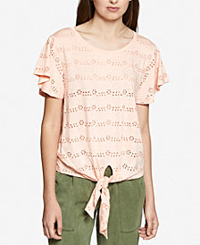 Sanctuary Hayden Cotton Tie-Hem Eyelet T-Shirt