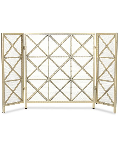 Noble House Three Panel Fireplace Screen, Quick Ship
