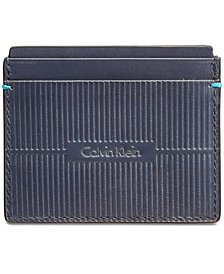 Calvin Klein Men's Grooved Leather Card Case