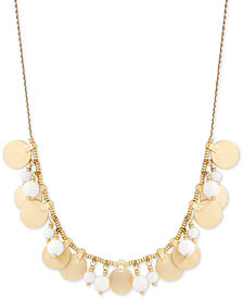 "Lucky Brand Gold-Tone Shaky Bead & Disc Statement Necklace, 24"" + 2"" extender, Created for Macy's"